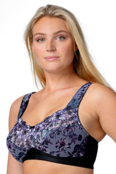 Miss Mary Heavenly Blossom kaarituettomat rintaliivit musta-sinikukka Kaaritueton kokokuppinen liivi leveillä olkaimilla. 80-110 D-H MM-2959-BLK