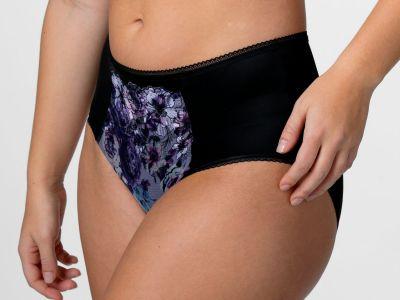 Miss Mary Heavenly Blossom -alushousut musta-sinikukka Normaalivyötäröiset alushousut 40-56 MM-4958-BLK