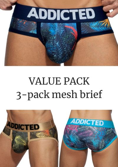 Addicted Mesh brief push up 3-pack tropical print Brief 80% Polyamidi, 15% Elastaani, 5% Puuvilla S-3XL AD889P