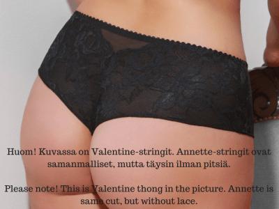 Plaisir Lingerie Annette-stringit musta Brazilianhousut leveällä vyötärökaistaleella 40-54 447-5
