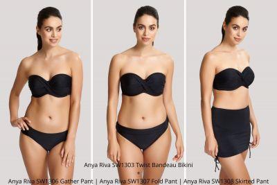 Panache Swimwear Anya Riva Twist Front -bandeaubikiniliivit musta Kaarituetut, olkaimettomat bandeaubikiniliivit 65-85 DD-H SW1303-BLK