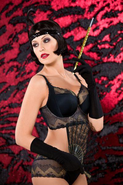 Gatsby Soft Side Support Longline -rintaliivit musta-kulta