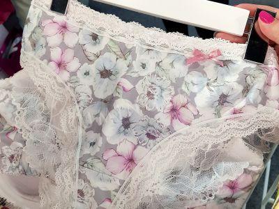 Ice Garden -alushousut harmaa kukkaprintti
