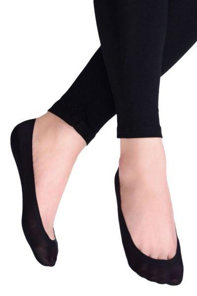 Ballerinasukat puuvillapohjalla musta 1 pr Varreton avokassukka silikonireunalla sekä silikonisilla liukuesteillä. 34-37 ja 38-41 CDB 400-004