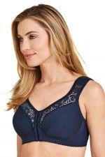 Cotton Lace kaarituettomat edestä avattavat rintaliivit tummansininen