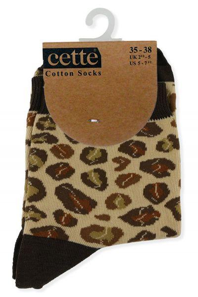 Cette Cotton Leopard -nilkkasukat ruskea Puuvilllaiset nilkkasukat resorivarrella. 35-38, 39-42 267-12-147