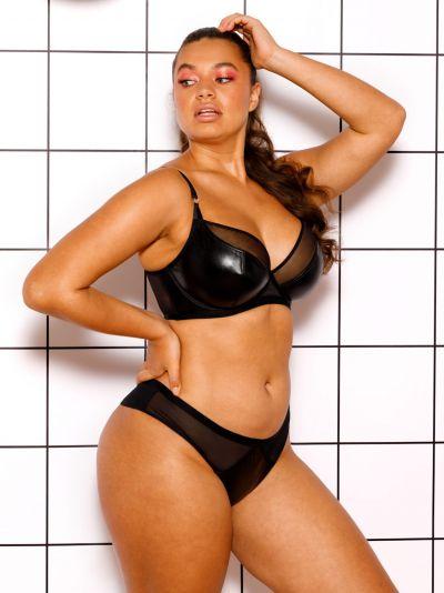 Curvy Kate Lucky Star Plunge -rintaliivit Black Wetlook Kaarituettu, edestä matalampi toppaamaton liivi 70-90, E-M CK-031-101-BLK