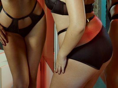 Effie Satin & Mesh -alushousut musta