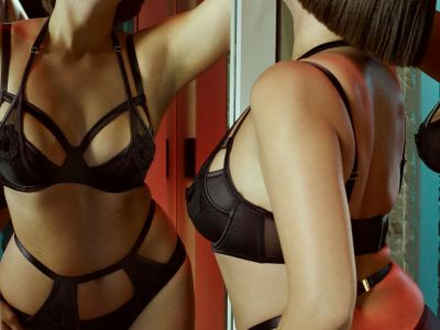 Effie Satin & Mesh -rintaliivit musta