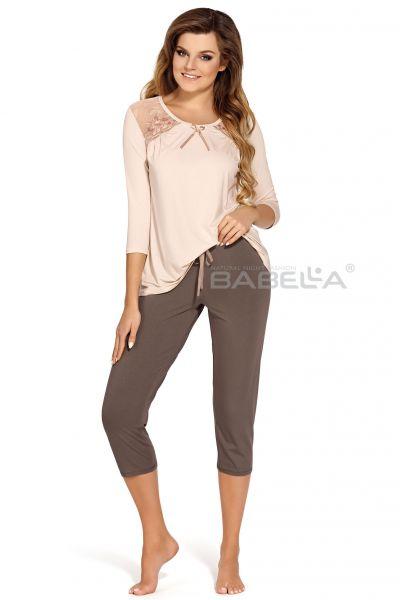 Babella Gabriella-pyjama 2-osainen beige-mokka Kaksiosainen pyjamasetti M/38-40 - 4XL/58-60