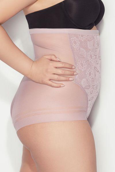 Glossy Hi Waist korkeavyötäröiset alushousut vaaleanpunainen