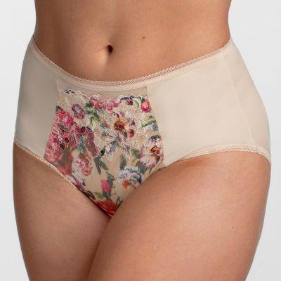 Miss Mary Heavenly Blossom -alushousut beige-punakukka Normaalivyötäröiset alushousut 40-56 MM-4958-BEIGE