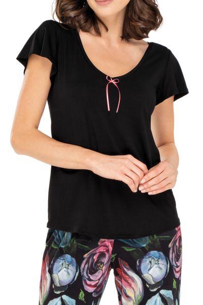 Babella Ingrid-pyjama 2-osainen Black Floral Kaksiosainen pyjamasetti S/34-36 - 2XL/50-52