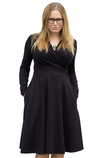 Urkye Koperta-mekko pitkähihainen musta Pitkähihainen neulosmekko taskuilla 36-50 O/OO, OO/OOO SU-033-CZA-2020