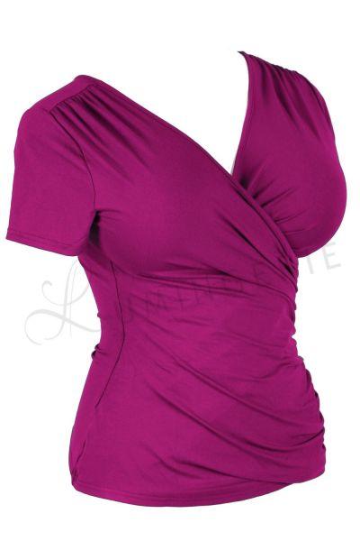 Urkye Kopertowka-toppi Purple Lyhythihainen v-kaula-aukkoinen toppi 34-50, O/OO, OO/OOO BL-038-FIO-SS21