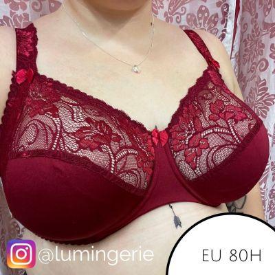 Plaisir Lingerie Sofia Soft Lace -rintaliivit Red Rumba Kaarituettu, toppaamaton, joustopitsinen täyskuppiliivi 80-105 D-H 1130-RMB