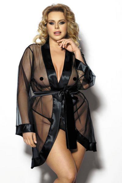 Anaïs apparel Anaïs+ Maerin-meshtakki satiinireunuksilla musta  XL-6XL