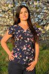 Mgielka lyhythihainen pusero tummansininen kukkaprintti-thumb