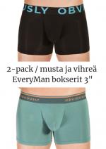 EveryMan Bokserit 2-pack musta ja vihreä