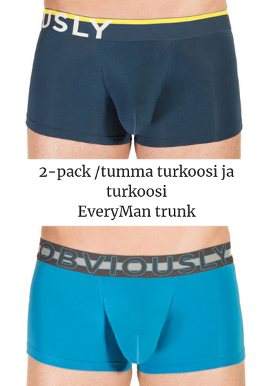 Obviously EveryMan Trunk 2-pack tumma turkoosi ja turkoosi Trunk 90% Bambu, 10% Lycra<br> S-XL B03-1H/B03-1F