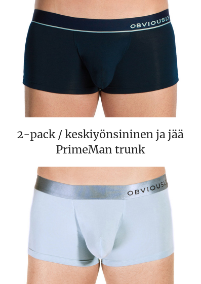 Obviously PrimeMan Trunk 2-pack keskiyönsininen ja jää Trunk 90% Mikrokuitu, 10% Lycra<br> S-XL A03-1M/A03-1E