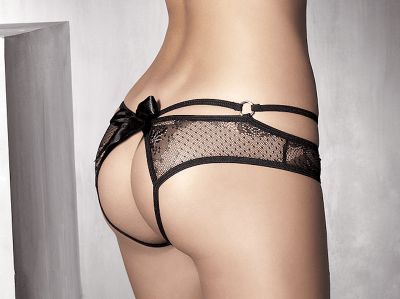 Anaïs apparel Anaïs Permission-alushousut musta Avoimet alushousut koristeellisella takaosalla S - 3XL