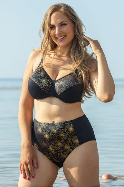 Plaisir Lingerie Golden Full Cup-bikiniliivit musta-kulta Kaarituettu, toppaamaton bikiniliivi 80-100, D-H T0051-BLK/GLD