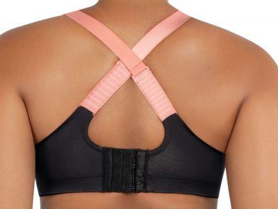 Parfait Lingerie Active Power Fit -urheilurintaliivit Black w Pink Blush Kaarituettu, toppaamaton urheiluliivi muunneltavilla olkaimilla 70-100, D-H P6002-BLK