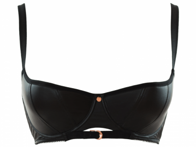Scantilly by Curvy Kate Unleash-rintaliivit musta wetlook  65-85, DD-HH ST2601