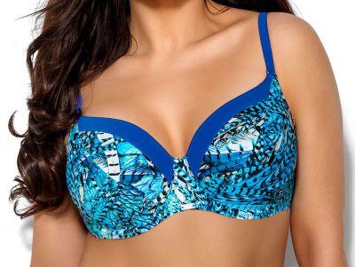 Skye-bikiniliivit sininen höyhenprintti