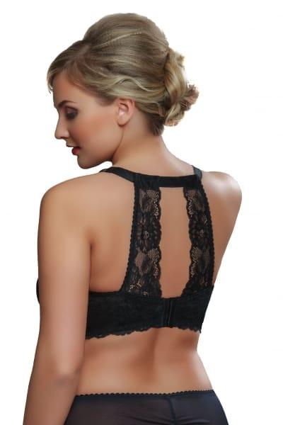 Tiffany-rintaliivit selkäpitsikoristeilla musta