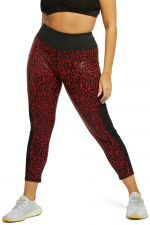 Leopard Wetlook HW Leggings punainen