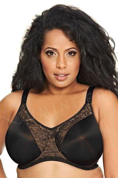 Goddess Yvette-rintaliivit musta Kaarituetut, toppaamattomat, muotoonprässätyt täyskuppiset rintaliivit 80-120, D-J GD6750